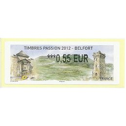 FRANCIA (2012). Timbres Passion Belfort. ATM nuevo (0,55)