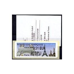 FRANCIA (2009). Paris Tour Eiffel. ATM nuevo + rec. (E 0,51)