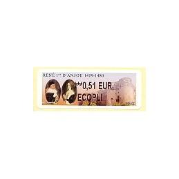 FRANCIA (2009). René 1er Anjou. ATM nuevo (0,51 ECOPLI)