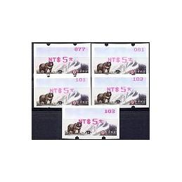 TAIWÁN (2009). Deaflympics - Oso (3)-magenta. ATMs nuevos (x 5)
