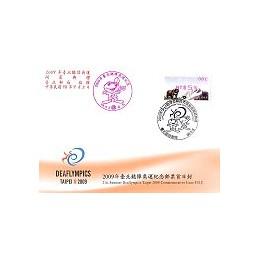 TAIWÁN (2009). Deaflympics - Oso (3)-magenta. Sobre P. D. (081)