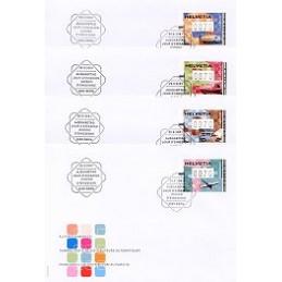 SUIZA (2001). Transporte postal. Sobres Primer día (x 4)