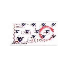 ECUADOR. Logotipo correos (4C). H058. Sello nuevo ($00.01)