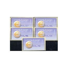 PORTUGAL (2002). Euro, a moeda - Amiel - punto. Serie 5 val.
