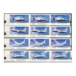 INDONESIA (1996). Aviones - negro + violeta. ATMs (12 x 300)