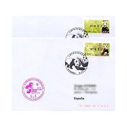 TAIWÁN (2010). Osos panda - negro. Sobres P.D. España (077)