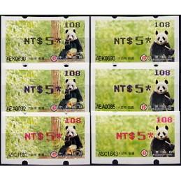 TAIWÁN (2010). Osos panda - negro + azul + rojo. ATMs (108)