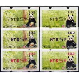 TAIWÁN (2010). Osos panda - negro + azul + rojo. ATMs (102)