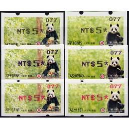TAIWÁN (2010). Osos panda - negro + azul + rojo. ATMs (077)