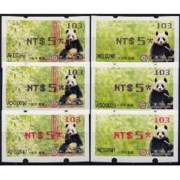 TAIWÁN (2010). Osos panda - negro + azul + rojo. ATMs (103)