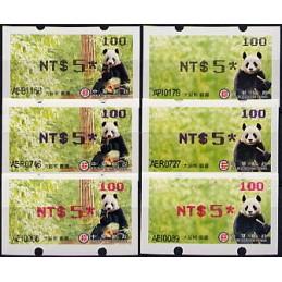 TAIWÁN (2010). Osos panda - negro + azul + rojo. ATMs (100)