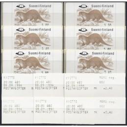 FINLANDIA (1994). Nutria europea - 1. Serie 6 val. + rec.