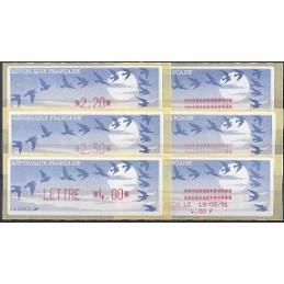 FRANCIA (1990). Pájaros (1) - LISA rojo. Serie 3 val. + rec.