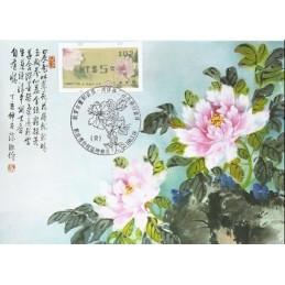 TAIWÁN (2011).  Peonías - negro. Tarjeta máxima (102) *