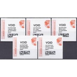 EEUU (2011). ENDICIA (stamps.com). Serie 5 etiquetas (VOID)