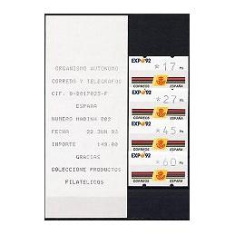 ESPAÑA. 2.1. EXPO 92 - 3 díg. Serie 4 v. (1992) + rec. EXPO (010