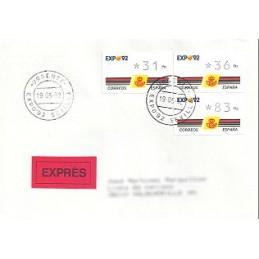ESPAÑA. 2.1. EXPO 92 - 3 díg. Sobre nacional URG. (Expo 92) + re