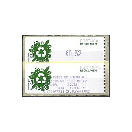 PORTUGAL (2009). Reciclaje - Crouzet azul. ATM (0,32) + rec.