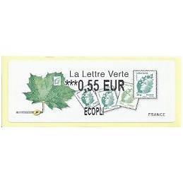 FRANCIA (2011). Lettre Verte - LISA 2. ATM nuevo (0,55 ECOPLI)