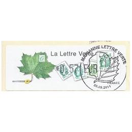 FRANCIA (2011). Lettre Verte - LISA 1. ATM (0,57), P.D. Paris