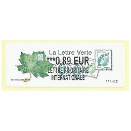 FRANCIA (2011). Lettre Verte - LISA 2. ATM nuevo (0,89 L P I)