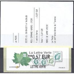 FRANCIA (2011). Lettre Verte - LISA 2. ATM nuevo (0,57 L V) + re