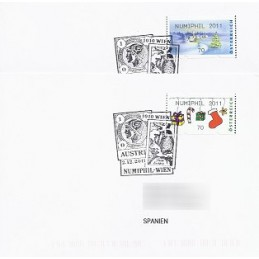 AUSTRIA (2011). NUMIPHIL 2011 (Inv. 4). Sobres P.D. (España)