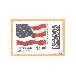 EEUU (2011). Mail&go - bandera. Sello usado (dif. val.)
