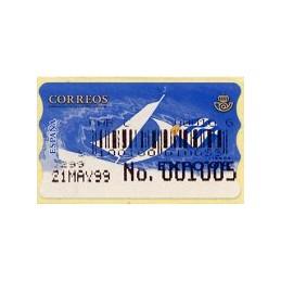 ESPAÑA. 25S. Expo 98. Etiqueta control A (No. + código) nueva