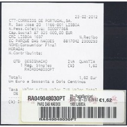 PORTUGAL (2012). Logo CTT - Quiosco postal 1. Sello nuevo + rec.