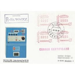 CUBA (1984). Feria ESSEN 84. Sobre P.D., certificado