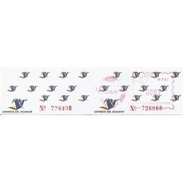 ECUADOR. Logotipo correos (4C). H062. Etiqueta + sello ($00.02)