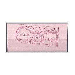 BRASIL (1982). Bandera y mapa. Sello nuevo