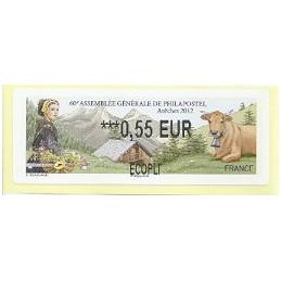 FRANCIA (2012). 60 Philapostel - Arêches. ATM nuevo (0,55 ECOPLI