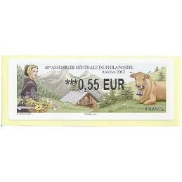 FRANCIA (2012). 60 Philapostel - Arêches. ATM nuevo (0,55)