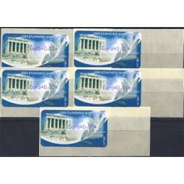 GRECIA (2004). Partenón (1) - violeta. ATMs nuevos (0,01-0,05)