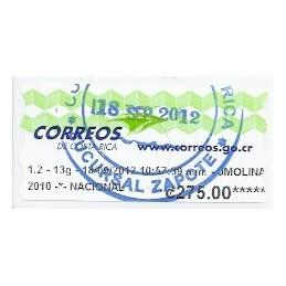 COSTA RICA (2012). Logotipo Correos (1) - Datamax. ATM, matas.