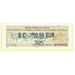 FRANCIA (2012). Marcophilex XXXVI Epernay. ATM nuevo (EC 0,55)