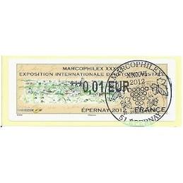 FRANCIA (2012). Marcophilex XXXVI Epernay. ATM (0,01), mat. P.D.
