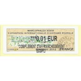 FRANCIA (2012). Marcophilex XXXVI Epernay. ATM nuevo (0,01 ECOPL