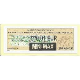 FRANCIA (2012). Marcophilex XXXVI Epernay. ATM nuevo (0,01 M MAX