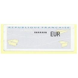 FRANCIA (2012). Aviones papel - IER NABUCCO. Etiqueta TEST