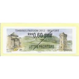 FRANCIA (2012).  Timbres Passion Belfort. Etiqueta TEST