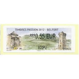 FRANCIA (2012). Timbres Passion Belfort. ATM nuevo (0,55 ECOPLI)