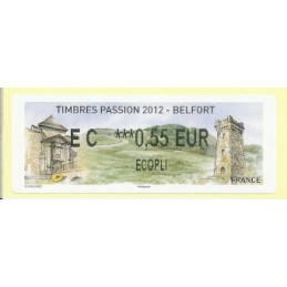 FRANCIA (2012). Timbres Passion Belfort. ATM nuevo (EC 0,55 ECOP