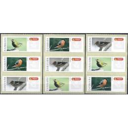 DINAMARCA (2012).  Pájaros Dinamarca (2). Etiquetas en blanco (9