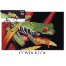 COSTA RICA (2003). Rana calzonuda (Agalychnis callidryas).. Tarjeta máxima (Matasello Parques Nacionales - rana 2013)