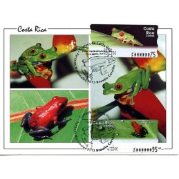 COSTA RICA (2003). Rana calzonuda (Agalychnis callidryas) + Rana Roja Venenosa (Dendrobates Pumilio). Tarjeta máxima (2013)