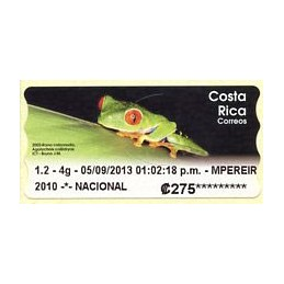COSTA RICA (2013). Rana calzonuda (Agalychnis callidryas) - Datamax 4. ATM nuevo