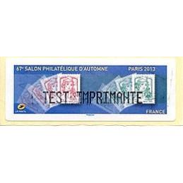 FRANCIA (2013). 67e Salon Philatélique d'Automne - Paris 2013 - Marianne. LISA 1.  Etiqueta TEST